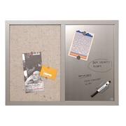 MasterVision - Tableau d'affichage mixte, tissue gris/effacement à sec argent, 24 po x 18 po, cadre gris (MX04331608)