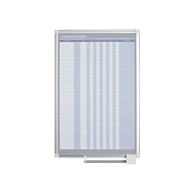 MasterVision – Tableau de planification vertical magnétique In & Out, 24 po x 36 po, cadre aluminium, (GA02109830)