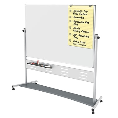 MasterVision Evolution Magnetic Dry Erase Mobile Double Sided Revolving Presentation Easel 72