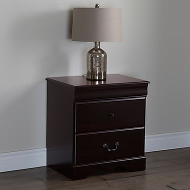 South Shore Vintage 2-Drawer Night Stand, Dark Mahogany, 24