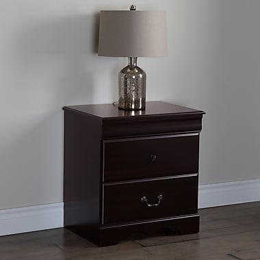 """Table de chevet 2 tiroirs, Acajou foncé, Vintage de Meubles South Shore, 24""""L x 17""""D x 25""""H"""