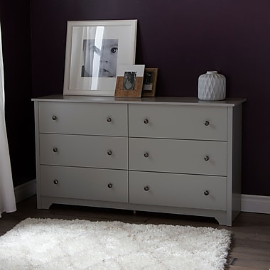 South Shore Vito 6-Drawer Double Dresser, Soft Gray, 59.25