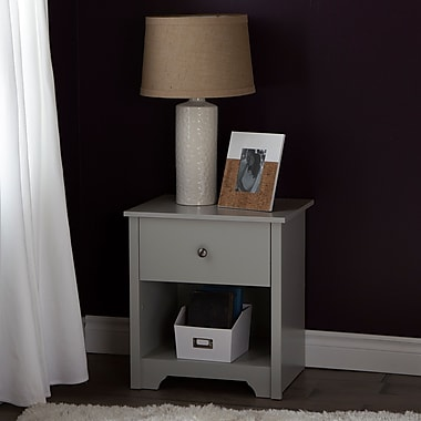 South Shore Vito 1-Drawer Night Stand, Soft Gray, 21.25