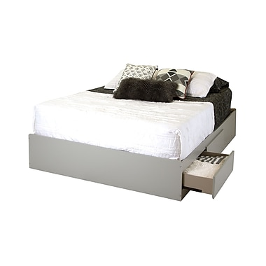 South Shore Vito Queen Mates Bed (60'') with 2 Drawers, Soft Gray