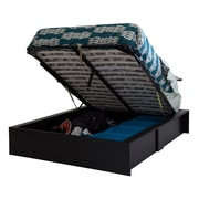 "South Shore Step One Ottoman Queen storage bed (60""), Pure Black"