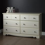 "South Shore Country Poetry 6-Drawer Double Dresser, White Wash, 48""(L) x 17""(D) x 29""(H)"