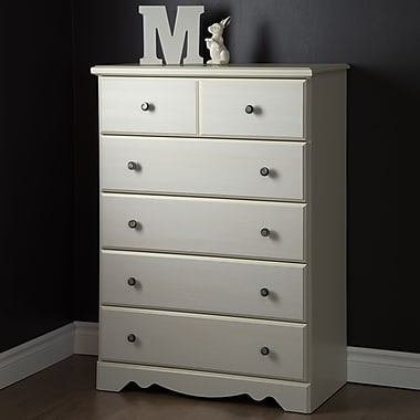 South Shore Country Poetry 5-Drawer Chest, White Wash, 31