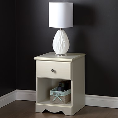 South Shore Country Poetry 1-Drawer Night Stand, White Wash, 18