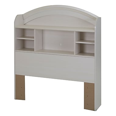 South Shore Country Poetry Twin Bookcase Headboard (39''), White Wash