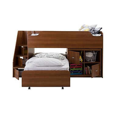 South Shore Mobby Twin Loft Bed with Trundle (39'') and Storage Unit, Morgan Cherry