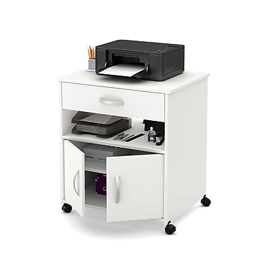 South Shore Axess Printer Cart on Wheels, Pure White, 26