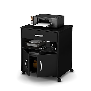 South Shore Axess Printer Cart on Wheels, Pure Black, 26