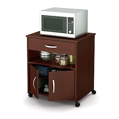 South Shore Fiesta Microwave Cart on Wheels, Royal Cherry, 26