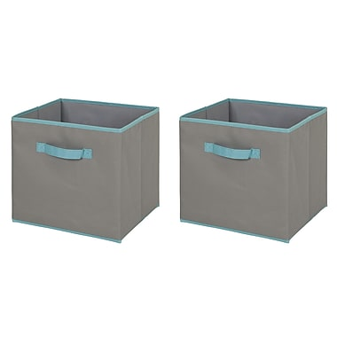 South Shore Fabric Storage Bin, 2 pack, Large Size, Gray and Turquoise, 12 (L) x 12 (D) x 11 (H)