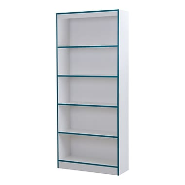 South Shore Axess 5-Shelf Bookcase, Pure White and Turquoise, 30.75