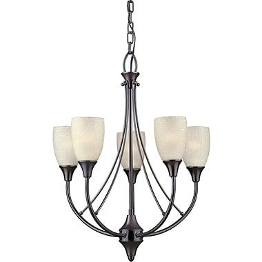 Forte Lighting 5-Light Shaded Chandelier; Antique Bronze / Umber Linen