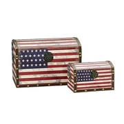Household Essentials 2 Piece American Flag Design Trunk Set