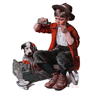 Marmont HIll 'Sick Puppy' by Norman Rockwell Painting Print on Wrapped Canvas; 31'' H x 24'' W
