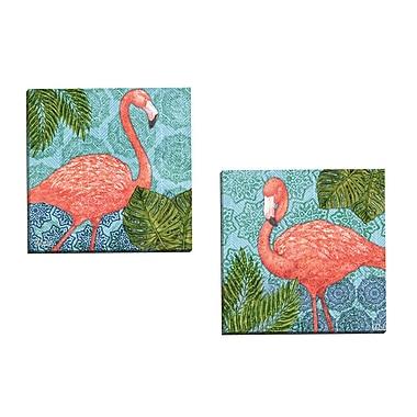 Portfolio Canvas Bahama Flamingo I by Paul Brent 2 Piece Painting Print on Wrapped Canvas Set