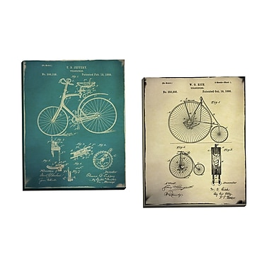 Portfolio Canvas Bicycle Patent 1 Buff by GI ArtLab 2 Piece Graphic Art on Wrapped Canvas Set