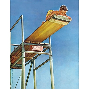 Marmont HIll 'Boy On High Dive' by Norman Rockwell Painting Print on Wrapped Canvas; 31'' H x 24'' W