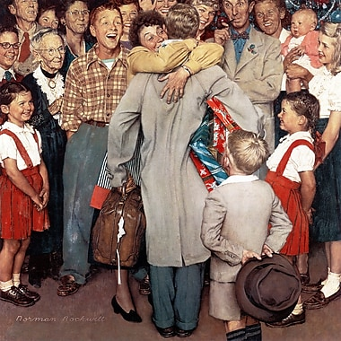 Marmont HIll 'Christmas Homecoming' by Norman Rockwell Painting Print on Wrapped Canvas
