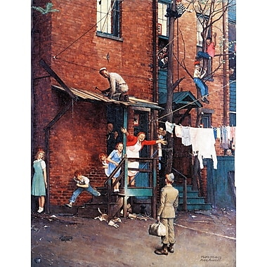 Marmont HIll 'Homecoming G.I.' by Norman Rockwell Painting Print on Wrapped Canvas; 52'' H x 40'' W