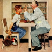 Marmont HIll 'Eye Doctor' by Norman Rockwell Painting Print on Wrapped Canvas; 24'' H x 24'' W
