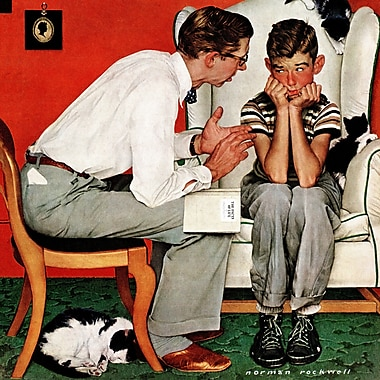 Marmont HIll 'Facts Of Life' by Norman Rockwell Painting Print on Wrapped Canvas; 32' H x 32' W