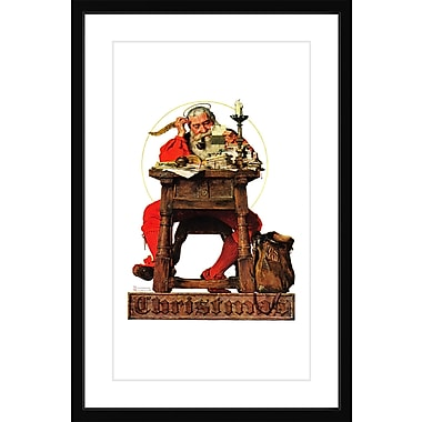 Marmont HIll 'Santa At His Desk' by Norman Rockwell Framed Painting Print; 18'' H x 12'' W