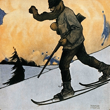 Marmont HIll Snowshod Hunter by Heinrich Pfeifer Painting Print on Wrapped Canvas