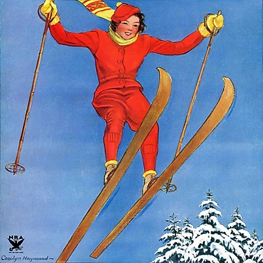 Marmont HIll Woman Ski Jumper by Carolyn Haywood Painting Print on Wrapped Canvas