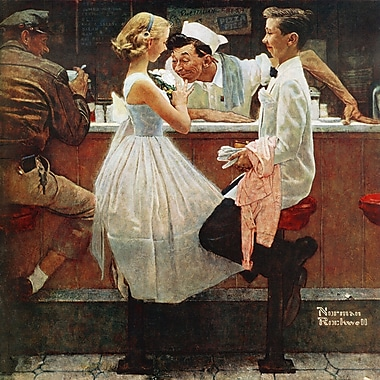 Marmont HIll 'After The Prom' by Norman Rockwell Painting Print on Wrapped Canvas; 24'' H x 24'' W