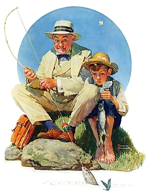 Marmont HIll 'Catching The Big One' by Norman Rockwell Painting Print on Wrapped Canvas