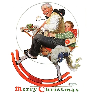 Marmont HIll 'Gramps On Rocking Horse' by Norman Rockwell Painting Print on Wrapped Canvas