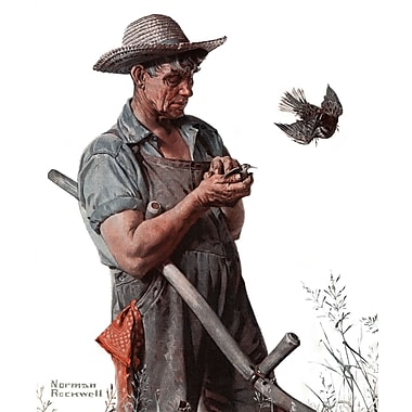 Marmont HIll 'Farmer And The Bird' by Norman Rockwell Painting Print on Wrapped Canvas