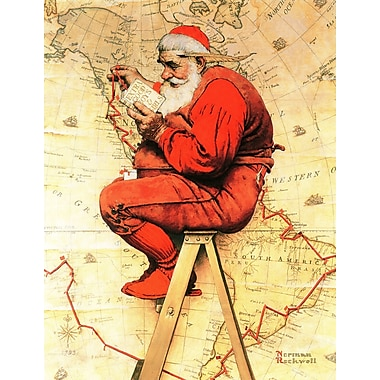 Marmont HIll 'Santa At The Map' by Norman Rockwell Painting Print on Wrapped Canvas; 39'' H x 30'' W