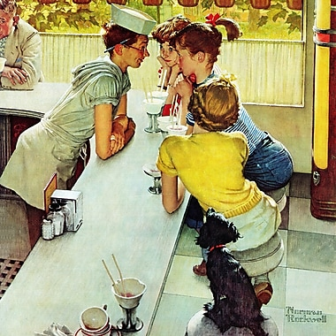 Marmont HIll 'Soda Jerk' by Norman Rockwell Painting Print on Wrapped Canvas; 32'' H x 32'' W