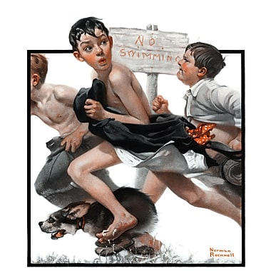 Marmont HIll 'No Swimming' by Norman Rockwell Painting Print on Wrapped Canvas; 36'' H x 30'' W