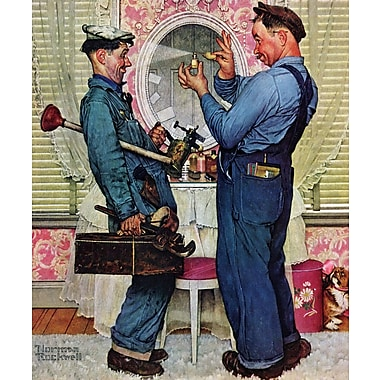 Marmont HIll 'Plumbers' by Norman Rockwell Painting Print on Wrapped Canvas; 36'' H x 30'' W