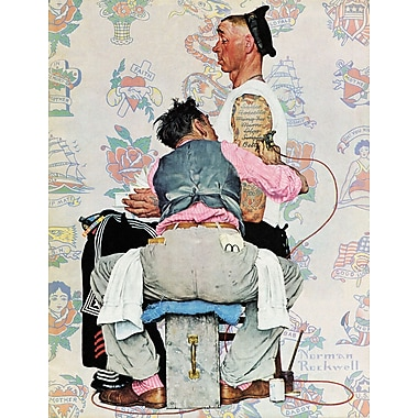 Marmont HIll 'Tattoo Artist' by Norman Rockwell Painting Print on Wrapped Canvas; 39'' H x 30'' W