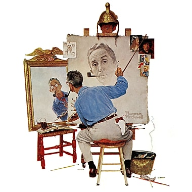 Marmont HIll 'Triple Self Portrait' by Norman Rockwell Painting Print on Wrapped Canvas