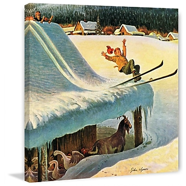 Marmont HIll Barn Skiing by John Clymer Painting Print on Wrapped Canvas; 48'' H x 48'' W x 1.5'' D