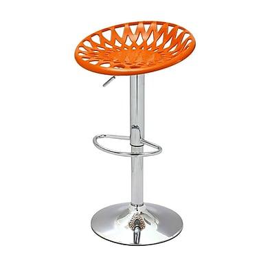 AdecoTrading Adjustable Height Swivel Bar Stool (Set of 2); Orange
