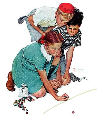 Marmont HIll 'Marbles Champ' by Norman Rockwell Painting Print on Wrapped Canvas; 29'' H x 24' W