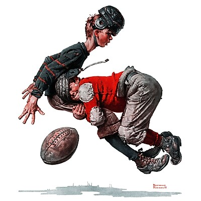 Marmont HIll 'Fumble' by Norman Rockwell Painting Print on Wrapped Canvas; 18'' H x 18'' W