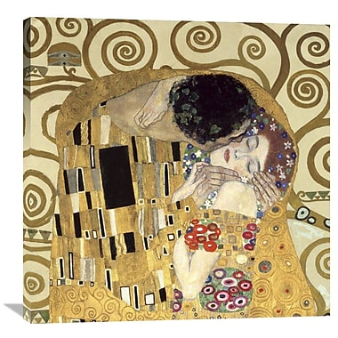 Global Gallery The Kiss by Gustav Klimt Painting Print on Wrapped Canvas; 36'' H x 36'' W x 1.5'' D