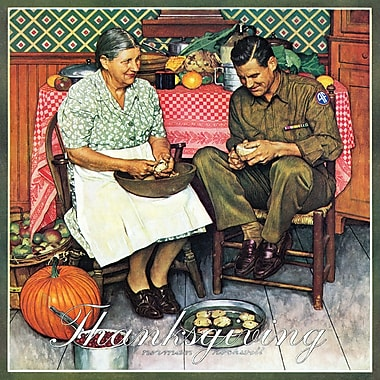 Marmont HIll 'Home For Thanksgiving' by Norman Rockwell Painting Print on Wrapped Canvas