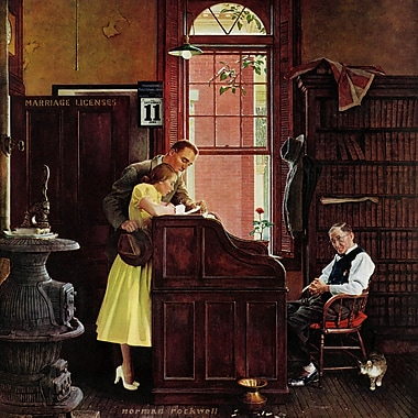 Marmont HIll 'Marriage License' by Norman Rockwell Painting Print on Wrapped Canvas; 18' H x 18'' W
