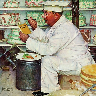 Marmont HIll 'How To Diet' by Norman Rockwell Painting Print on Wrapped Canvas; 32'' H x 32'' W